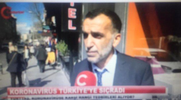 GAZETECİ GRİP DEDİ, BAŞKAN YAYILMAMASI İÇİN DEZENFEKTE YAPTI!