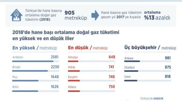 Hane başı en fazla gaz Ardahan'da kullanıldı